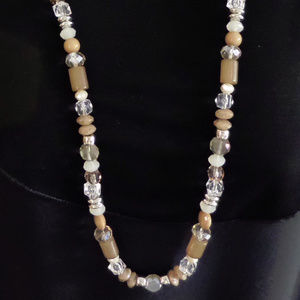 "SILVER BEIGE & CLEAR CRYSTAL BEADED 36"" LONG NECKL"